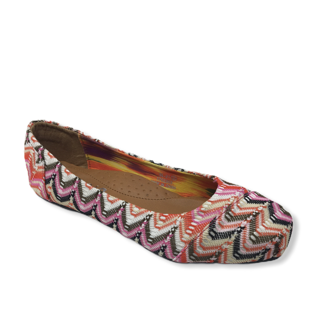Women's Multi-Colored Woven Ballet Flat - Crabapple