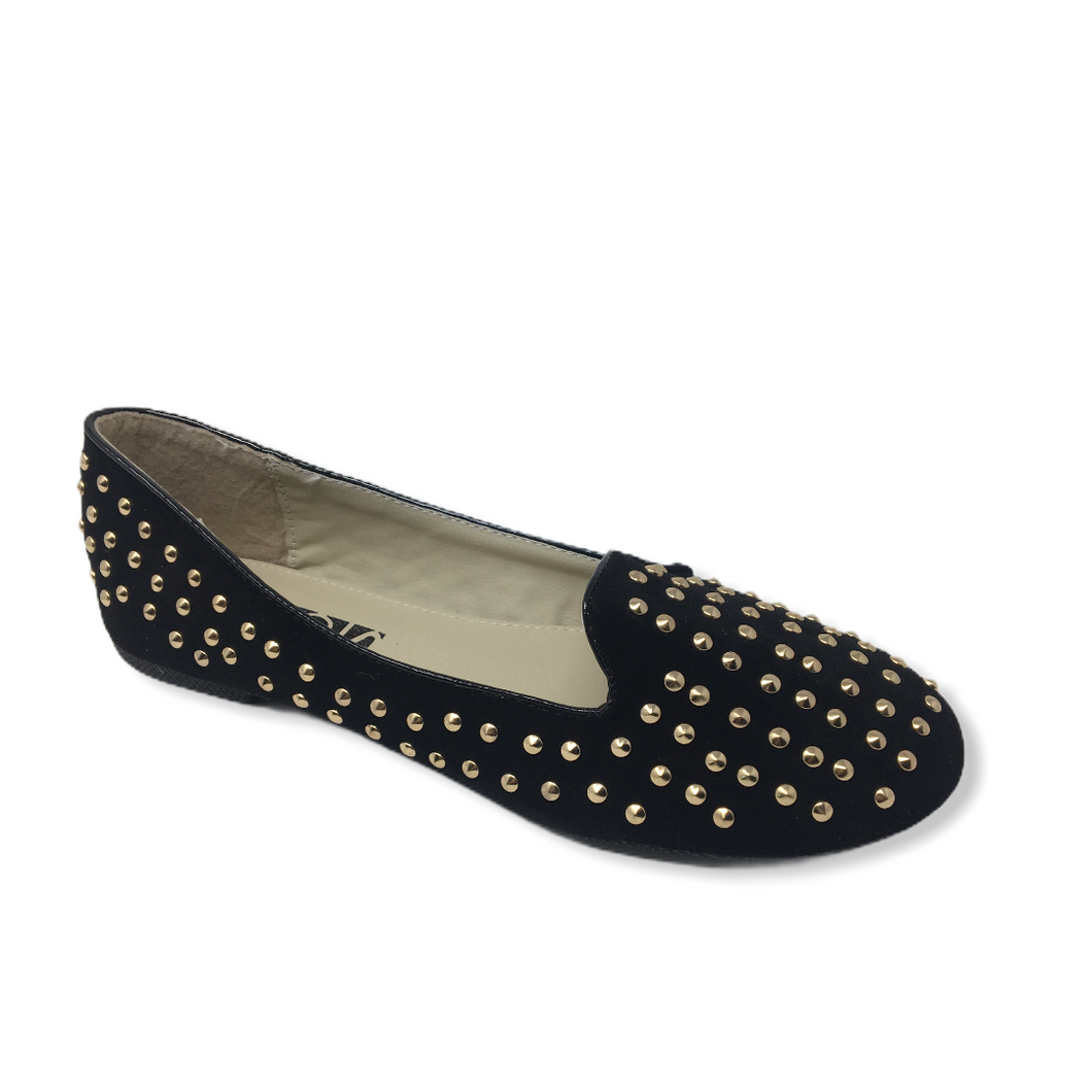 Women's Black Studdy Flat - Crabapple