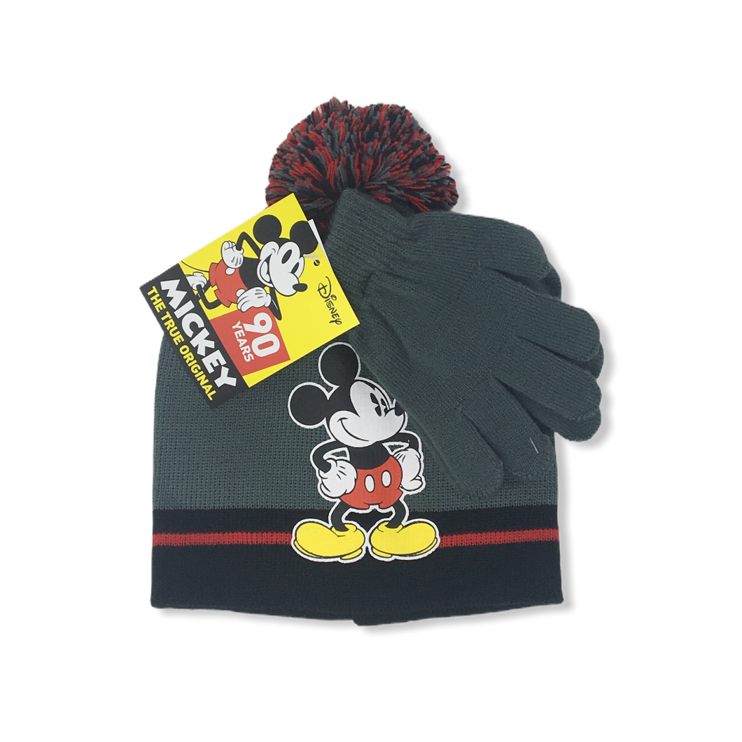 Boys' Grey Mickey Hat with Gloves Set - Crabapple