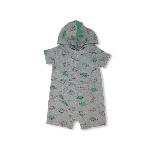 Baby Grey with Dinosaurs Romper with Hood - Crabapple