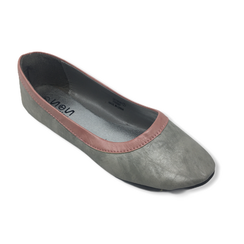 Women's Grey with Rose Pink Trim Faux Leather Ballet Flat - Crabapple