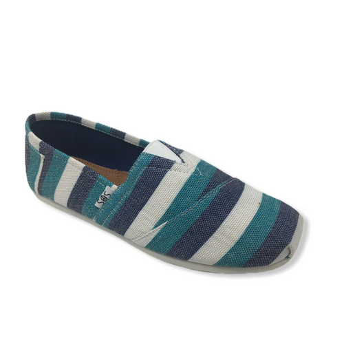 Women's Navy, Green, and White Striped Casual Shoe - Crabapple