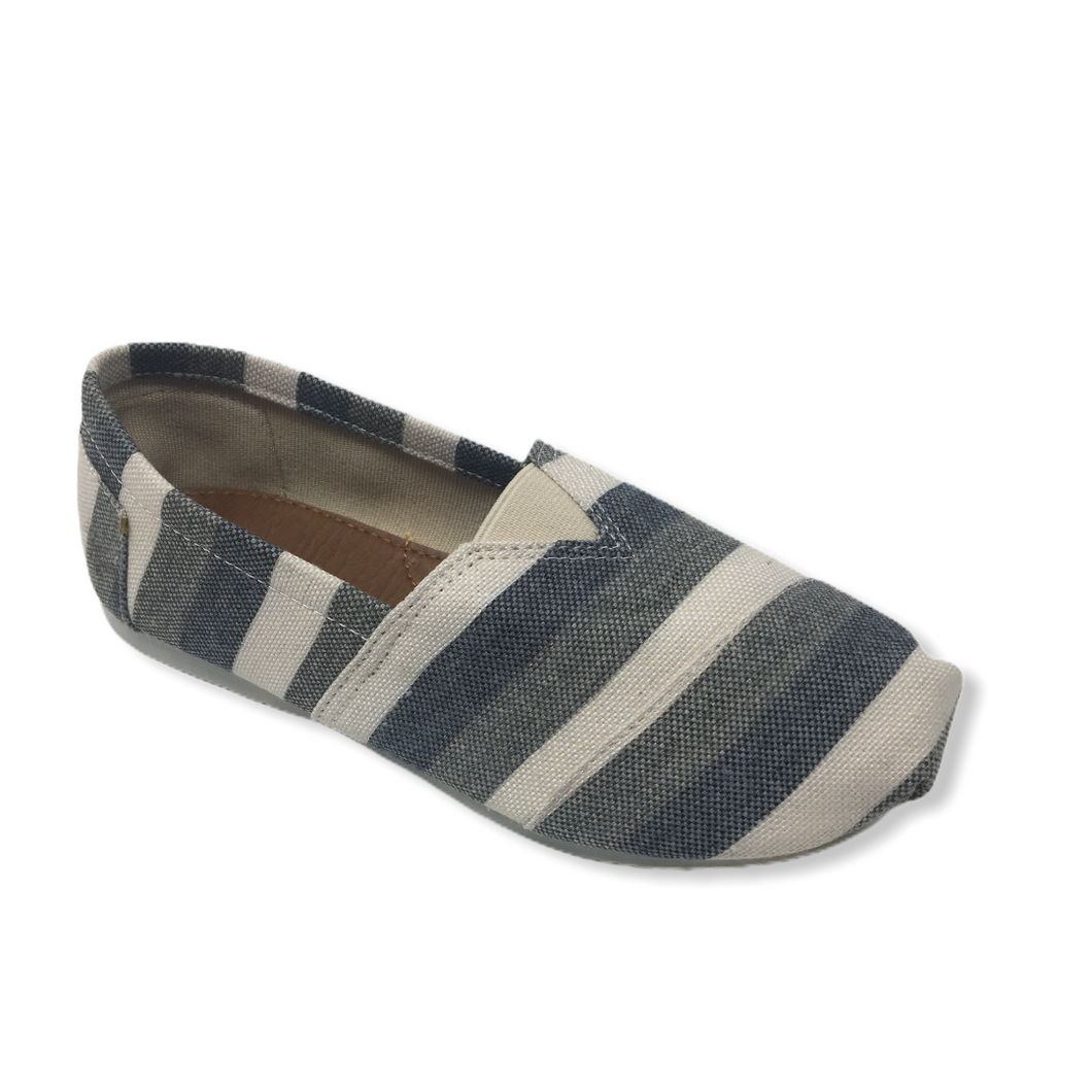 Girls' Sage, Grey, and White Striped Casual Shoe - Crabapple