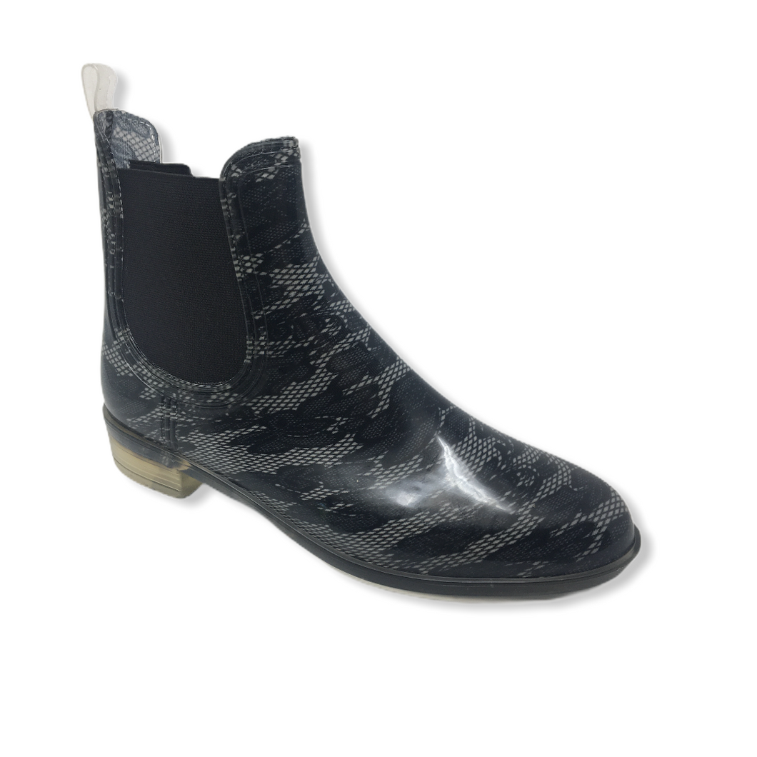 Women's Black Lace Flower Chelsea Style Rain Boot - Crabapple