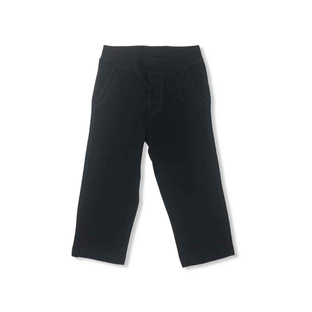 Toddler Black Lightweight Jersey Pant with Pockets - Crabapple