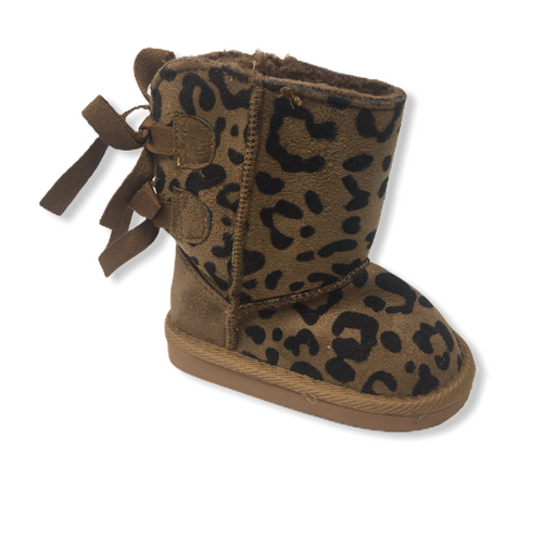Toddler Caramel Leopard Print Faux Suede Boot with Bows - Crabapple