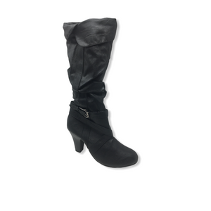 Women's Faux Leather Slouch Boot with Inner Zip and Decorative Buckle - Crabapple