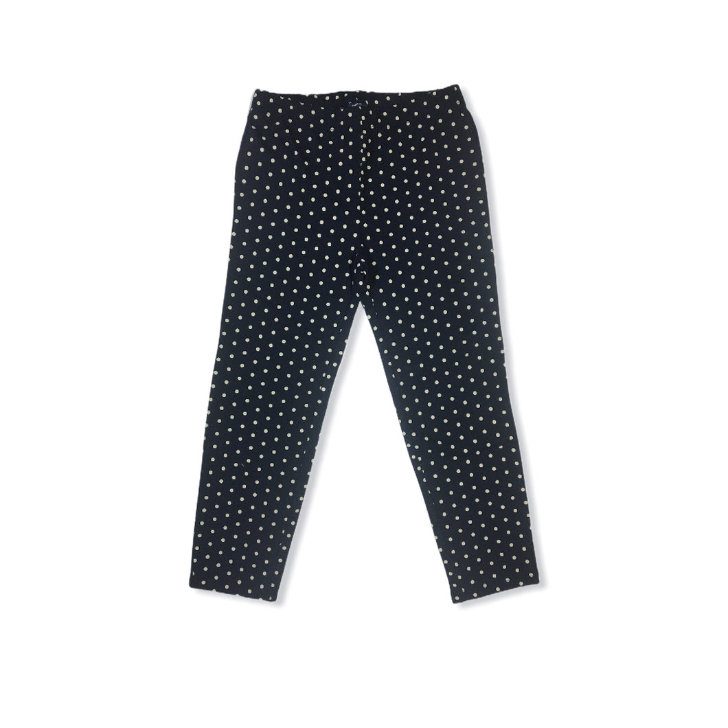 Girls' Deep Navy with White Polka Dots Cropped Leggings - Crabapple