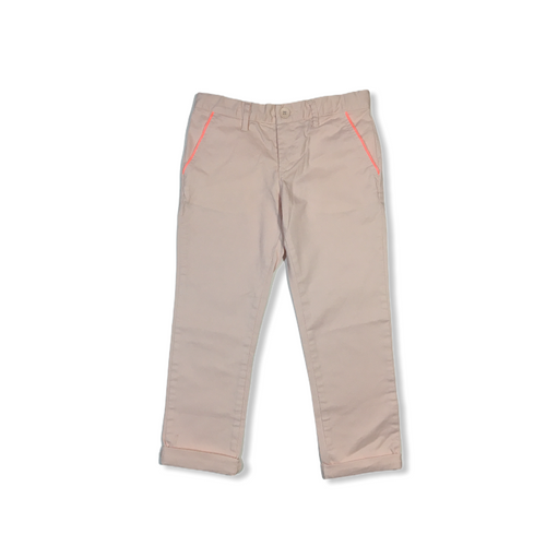 Girls' Pink Crop Pants with Neon Trimmed Pockets - Crabapple