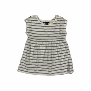 Girls' Sleeveless White and Grey Striped Top - Crabapple
