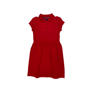 Girls' Uniform Red Fit and Flare Polo Dress - Crabapple