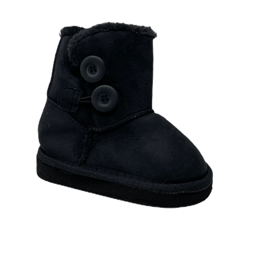 Toddler Black Faux Suede Boot with Button Detail - Crabapple