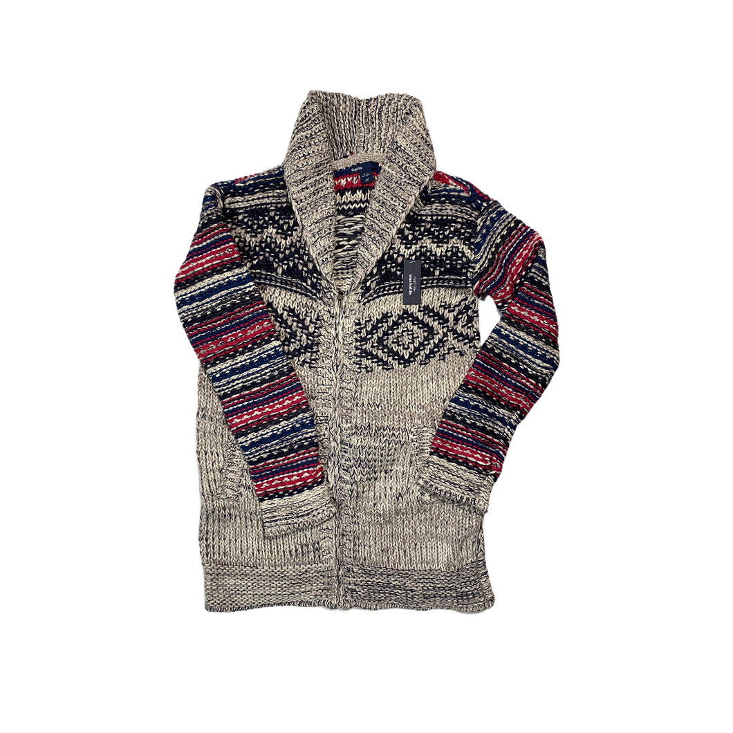 Boys' Grey Cotton & Wool Blend Zip Up Cardigan - Crabapple