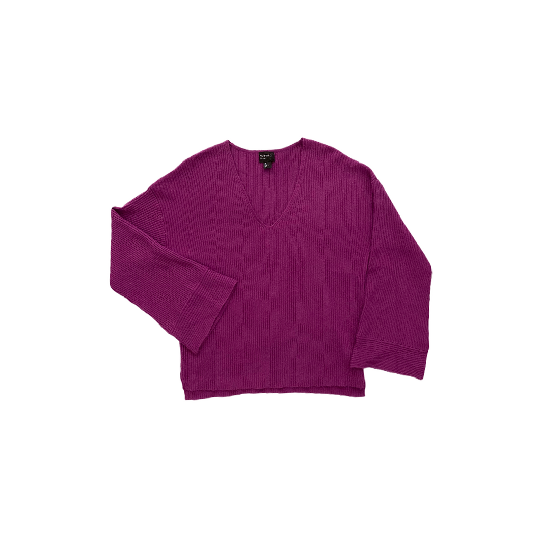 Women's Purple Ribbed V-Neck with Bell Sleeves - Crabapple