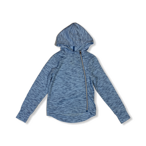 Girls' Blue Wickaway Hoodie with Thumbholes and Asymmetrical Zip - Crabapple