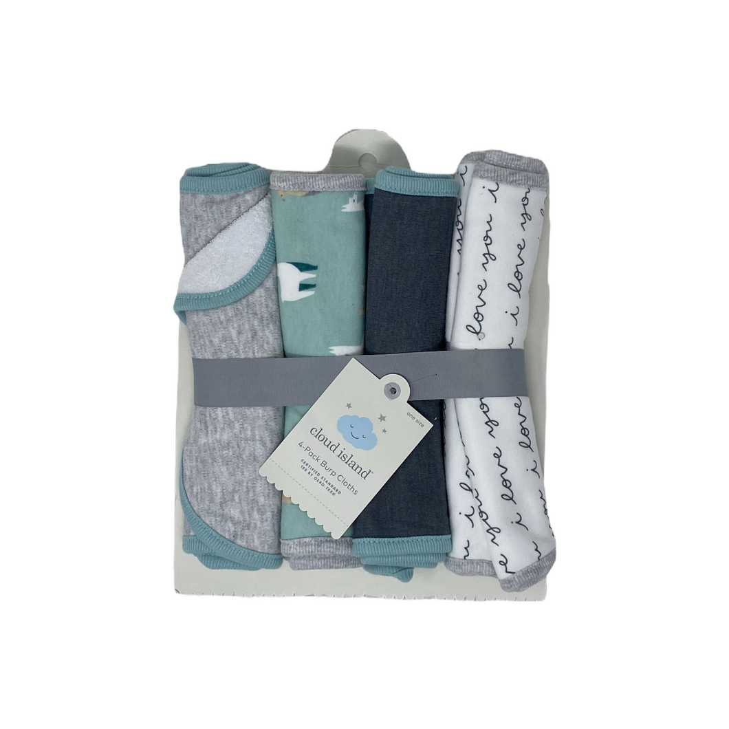 Baby Teal/Grey I Love You & Llama Burp Cloths - 4 Pack - Crabapple