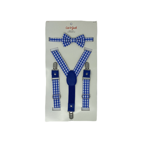 Toddler Blue Plaid Bow Tie and Suspenders Set - Crabapple