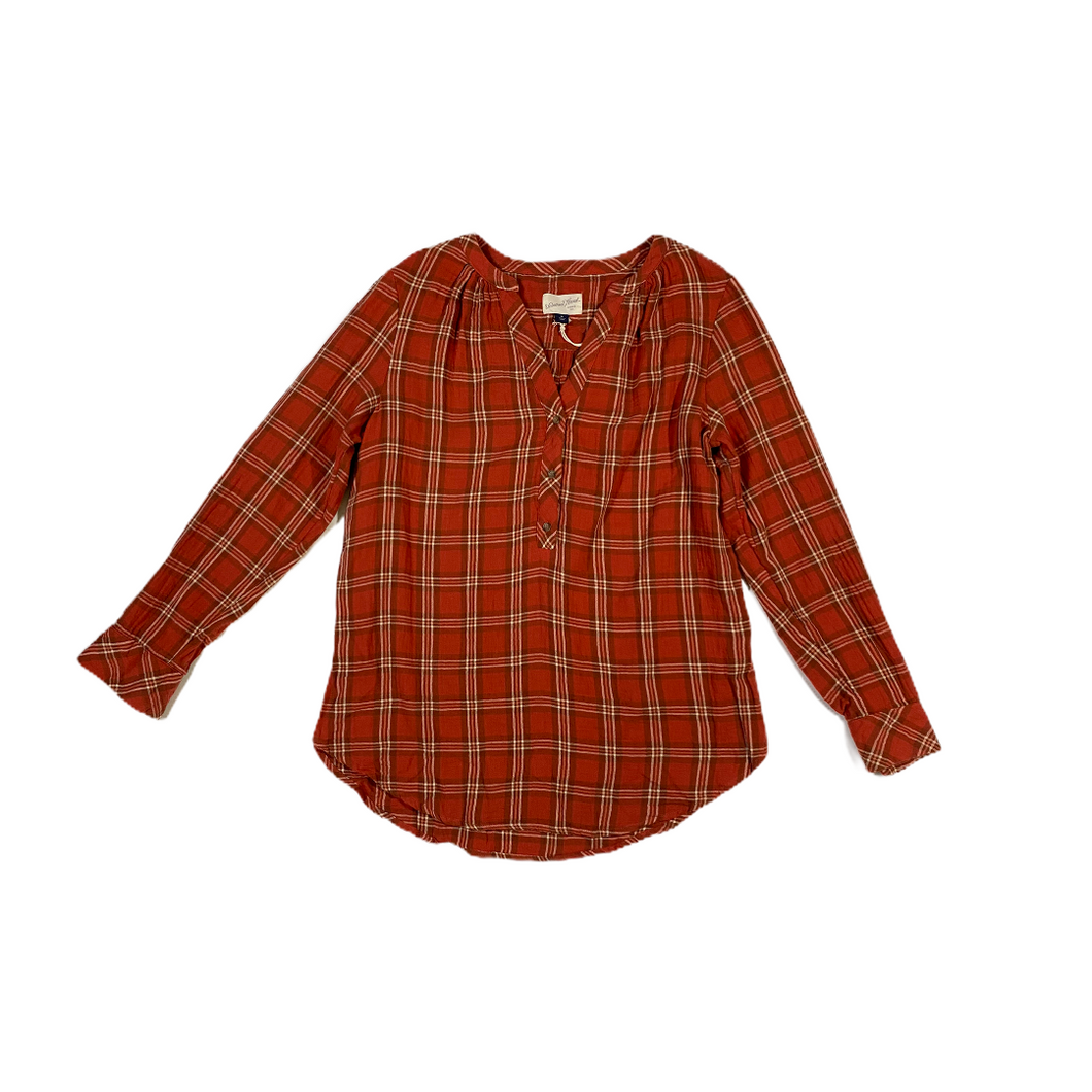Women's Red Plaid Button-Front Shirt - Crabapple
