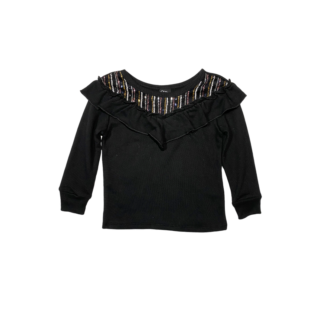 Toddler Black Ruffle Top with Multi-Colored Sequins - Crabapple