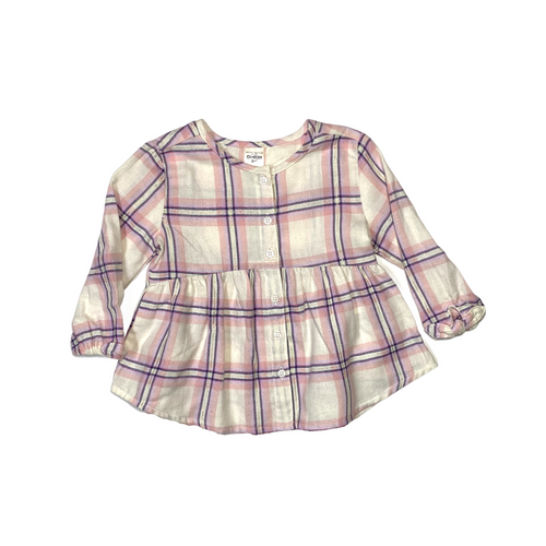 Baby Cream and Pink Plaid Button Down - Crabapple