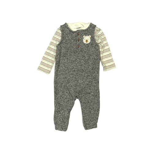 Baby Knit Romper with Striped Long Sleeve Crew - Crabapple