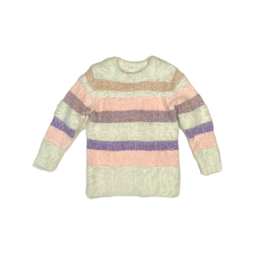 Baby Striped Fuzzy Sweater - Crabapple