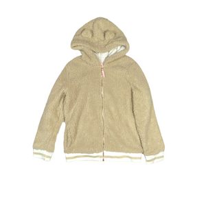 Girls' Tan Sherpa Zip-Up Hoodie - Crabapple