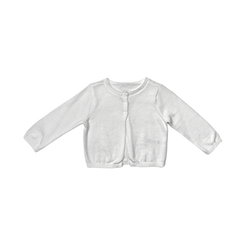 Baby White Partial Button Down Special Occasion Sweater - Crabapple