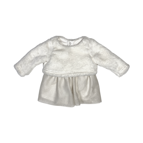 Baby Fuzzy Sweater Dress with Gold Flecked Tulle Skirt - Crabapple