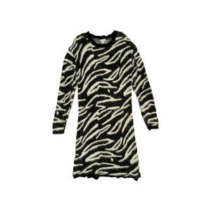 Women's Black and White Animal Print Fuzzy Sweater Dress - Crabapple