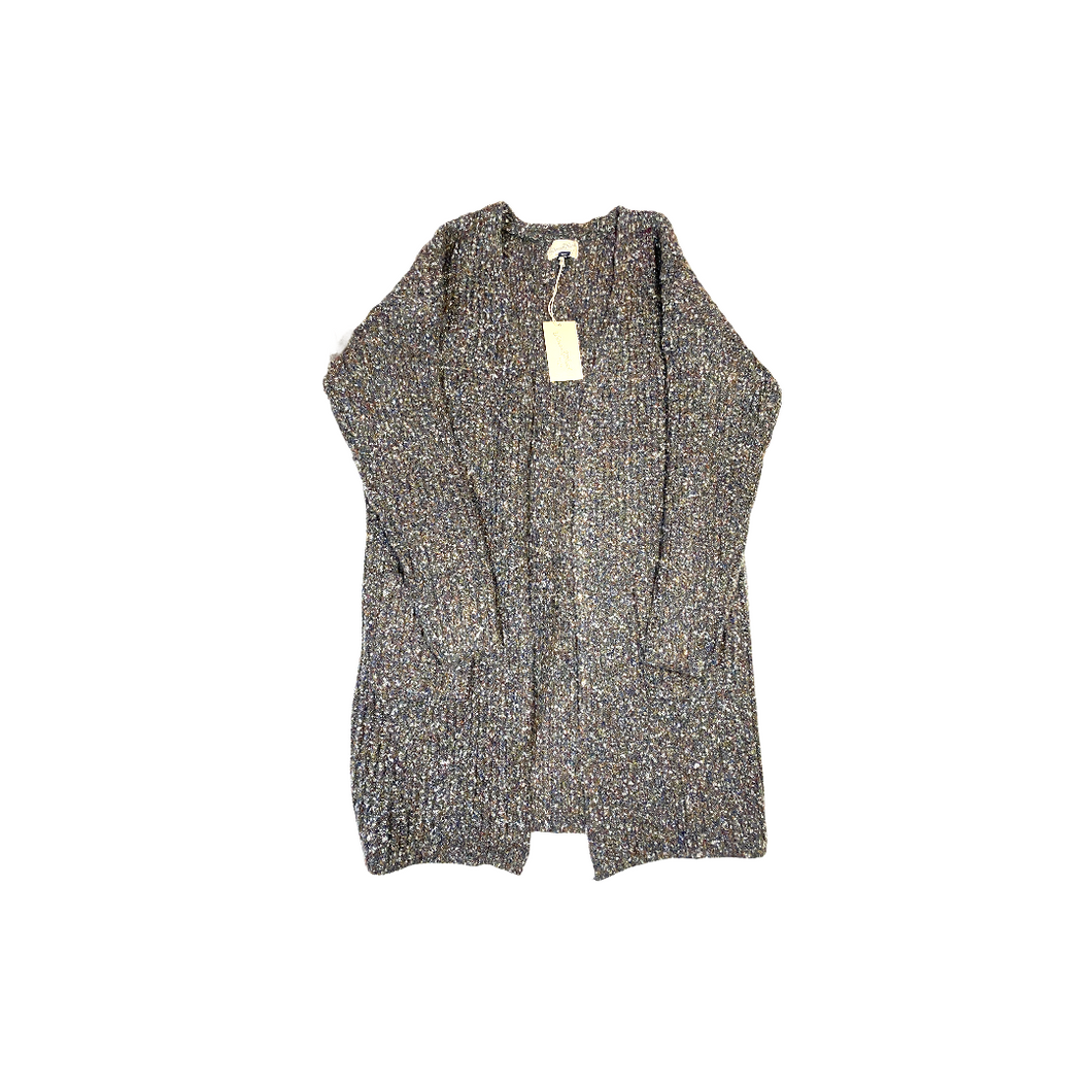 Women's Grey Multi-Colored Cardigan with Pockets - Crabapple