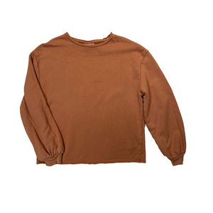 Women's Caramel Lightweight Sweatshirt with Raw Hem - Crabapple