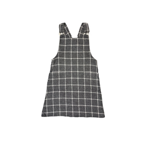 Women's Grey Windowpane Plaid O-Ring Jumper with Pockets - Crabapple