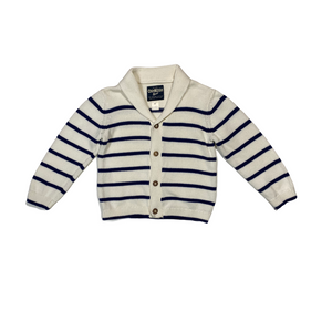 Toddler Polar Striped Button Down Cardigan - Crabapple