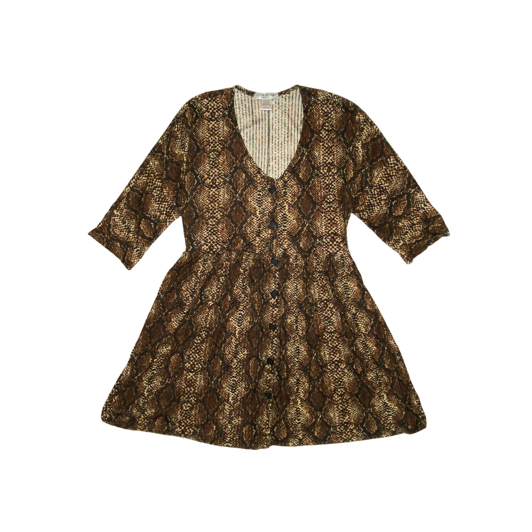 Women's Snake Print Button Down Dress - Crabapple