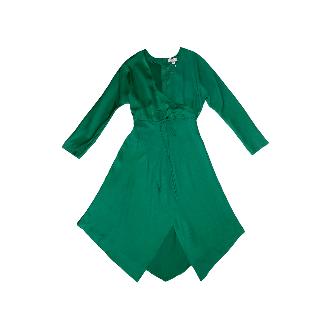 Women's Emerald Green Faux Wrap Dress - Crabapple