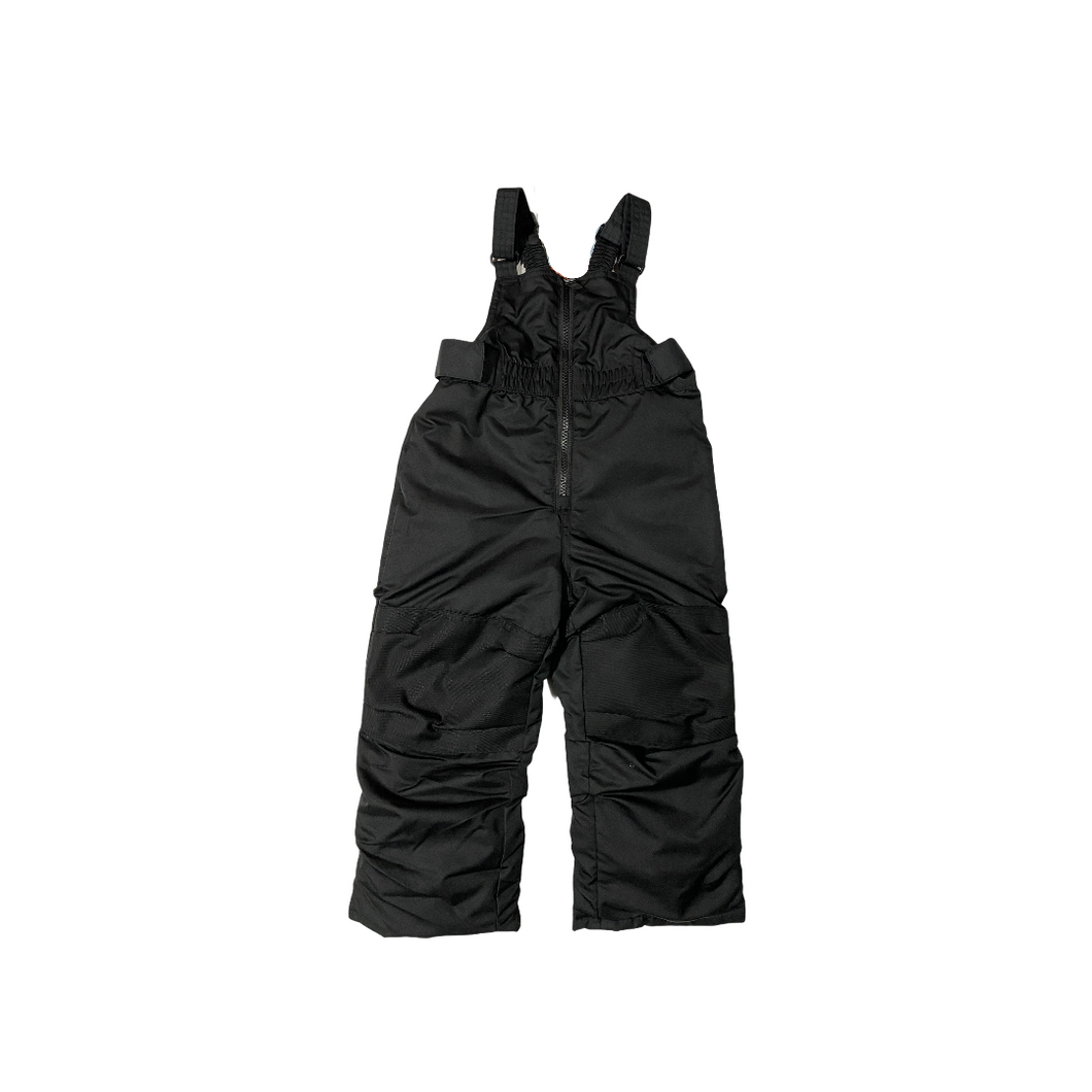 Toddler Black Heavyweight Snow Bibs with Upper Fleece Lining and Protective Knees - Crabapple