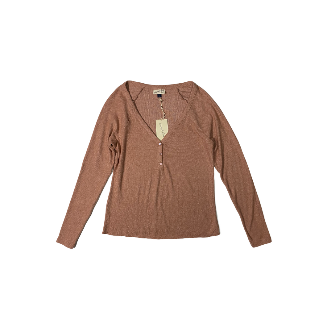 Women's Dusty Pink V-Neck Sweater with Buttons - Crabapple
