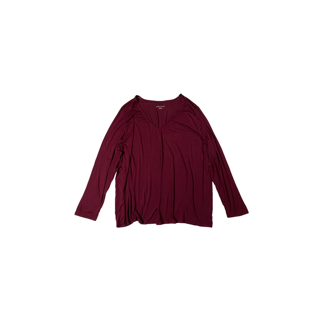 Women's Burgundy V-Neck Long Sleeve - Crabapple
