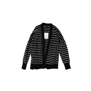 Women's Black with White Stripes Cardigan with Tie - Crabapple