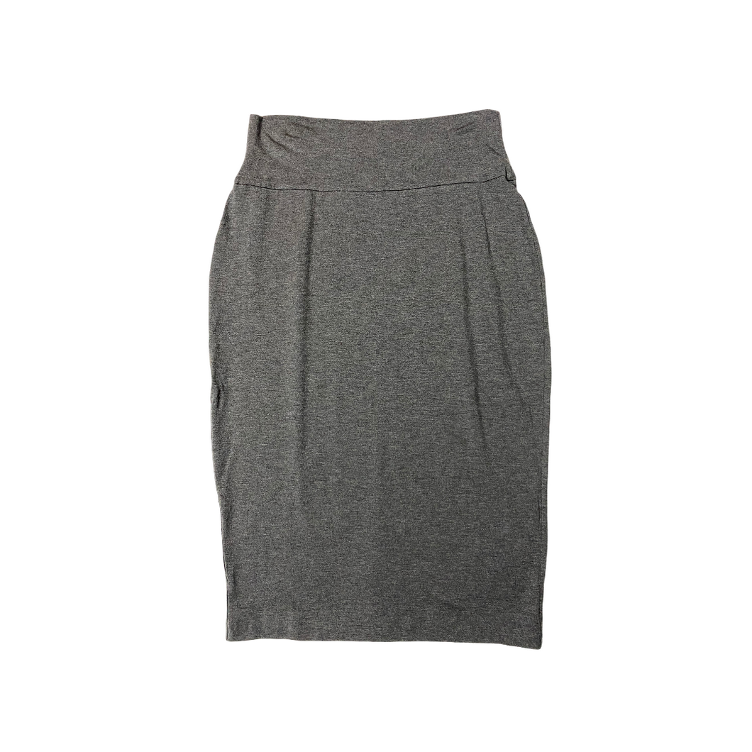 Women's Grey Midi Knit Pencil Skirt - Crabapple