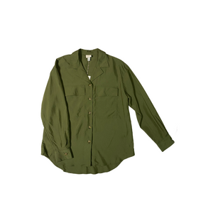 Women's Olive Green Button Down Blouse - Crabapple