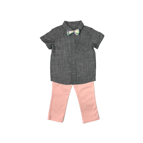 Toddler Gray Chambray with Pink Pant and Plaid Tie - Crabapple