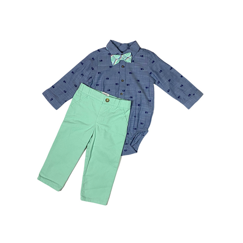 Toddler Denim Elephant with Aqua Pants and Plaid Tie Set - Crabapple