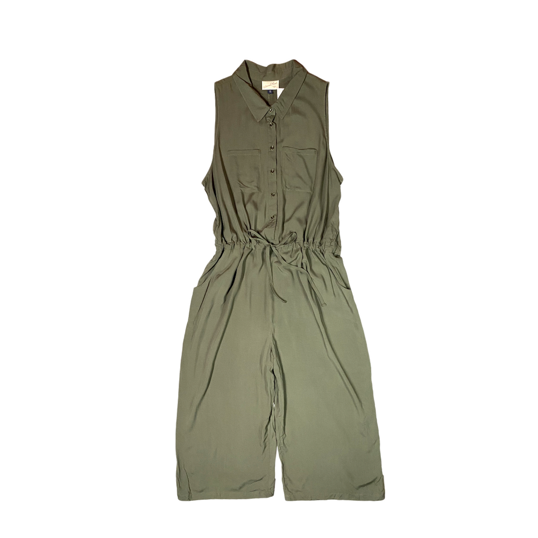 Women's Olive Green Sleeveless Collared Jumpsuit - Crabapple