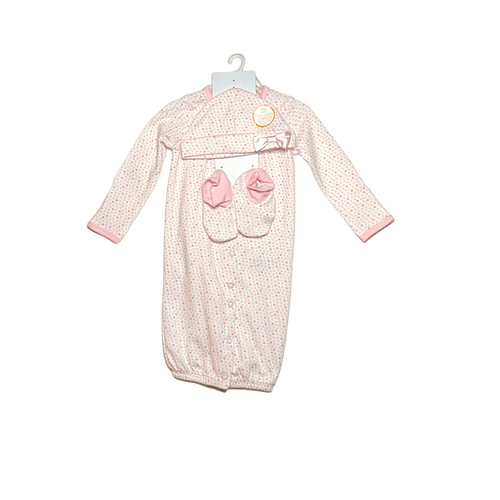 Baby Pink Button Down Sleeper Gown with Booties and Hat - Crabapple