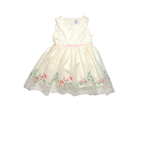 Baby Ivory Tulle with Floral Embroidery Dress - Crabapple