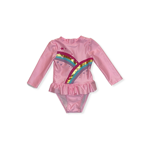 Toddler Rainbow Rash Guard One Piece with Convenient Snaps - Crabapple