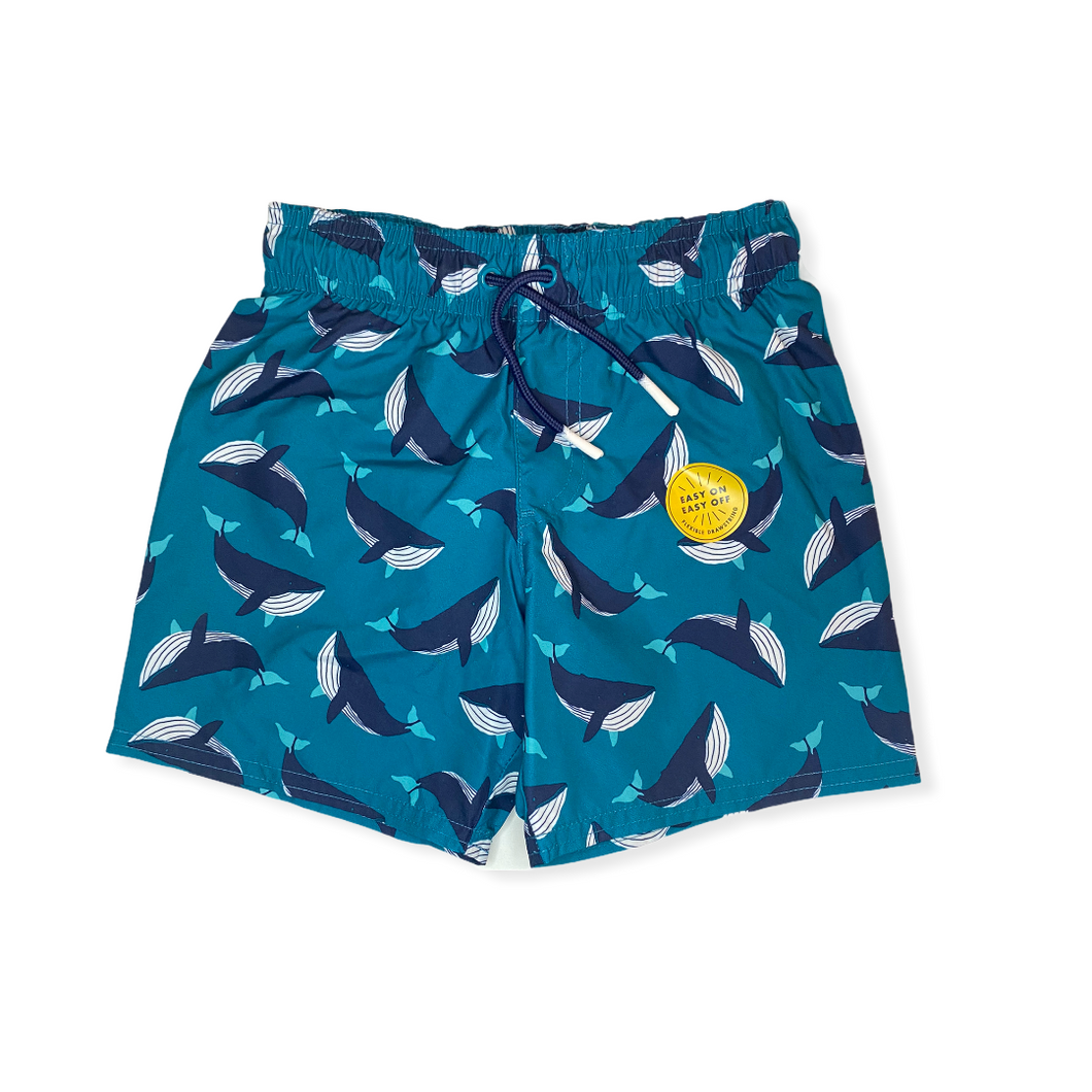 Toddler Whale Swim Trunks - Crabapple