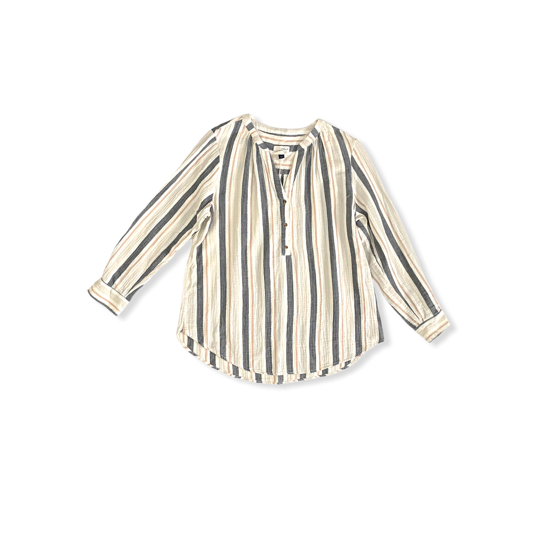 Women's Cream and Grey Striped Tunic - Crabapple